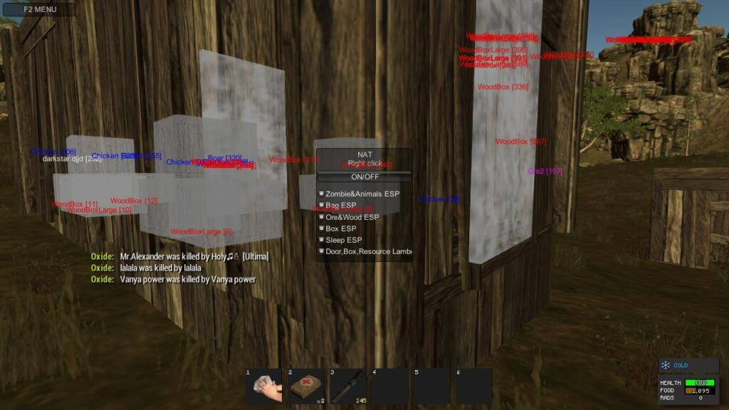 Rust wallhack ESP cheat feature